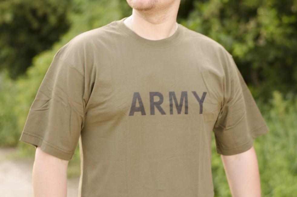 c7b6e388126e MFH tričko s nápisom army olivové