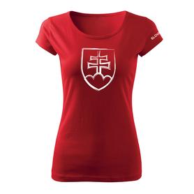 O&T dámske tričko slovenský znak, červená 150g/m2