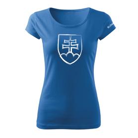 O&T dámske tričko slovenský znak, modrá 160g/m2