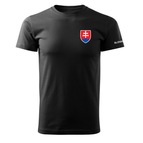 O&T krátke tričko malý farebný slovenský znak, čierna 160g/m2