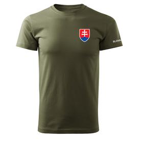O&T krátke tričko malý farebný slovenský znak, olivová 160g/m2