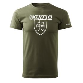 O&T krátke tričko slovenský znak s nápisom, olivová 160g/m2