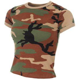 MFH dámske maskáčové tričko vzor woodland, 160g/m2
