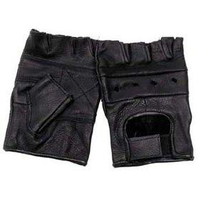 MFH Half kožené rukavice čierne bez prstov a nitov