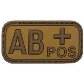 MFH nášivka krvná skupina 3D AB positive khaki 5x2,5cm
