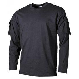 MFH US čierne dlhé tričko s velcro vreckami na rukávoch, 170g/m2
