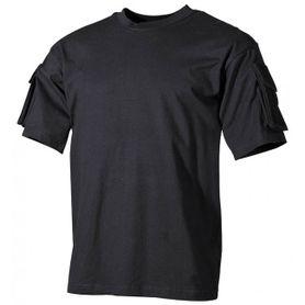 MFH US čierne tričko s velcro vreckami na rukávoch, 170g/m2