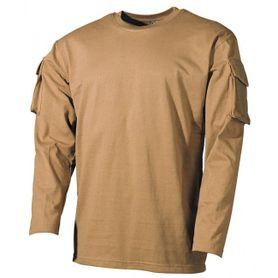 MFH US Coyote dlhé tričko s velcro vreckami na rukávoch, 170g/m2