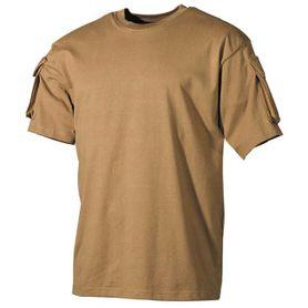 MFH US Coyote tričko s velcro vreckami na rukávoch, 170g/m2