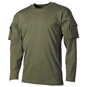 MFH US olivové dlhé tričko s velcro vreckami na rukávoch, 170g/m2