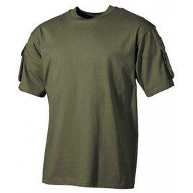 MFH US olivové tričko s velcro vreckami na rukávoch, 170g/m2