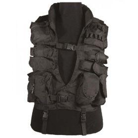 Mil-Tec HLS taktická vesta s golierom, čierna