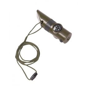 Mil-Tec signalizačná píštalka 6v1, olivová