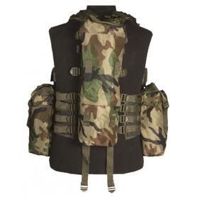 Mil-Tec taktická vesta s 12 vreckami, woodland