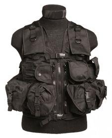 Mil-Tec taktická vesta s 9 vreckami, čierna