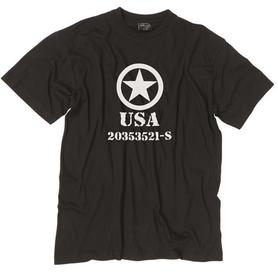 Mil-Tec tričko allied star čierne, 145g/m2