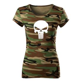 O&T dámske tričko punisher, maskáčová 150g/m2