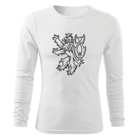 O&T Fit-T tričko s dlhým rukávom český lev, biela 160g/m2