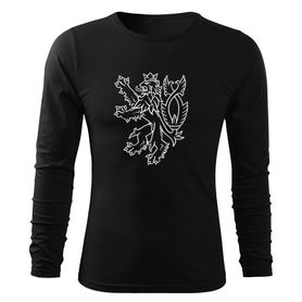 O&T Fit-T tričko s dlhým rukávom český lev, čierna 160g/m2