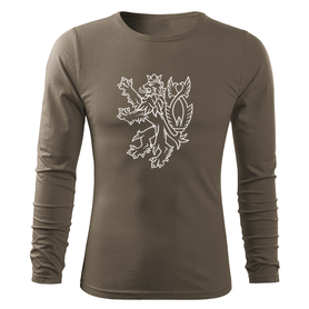 O&T Fit-T tričko s dlhým rukávom český lev, olivová 160g/m2