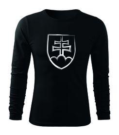 O&T Fit-T tričko s dlhým rukávom slovenský znak, čierna 160g/m2