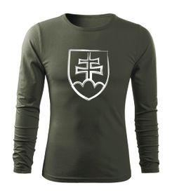 O&T Fit-T tričko s dlhým rukávom slovenský znak, olivová 160g/m2