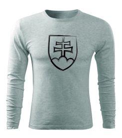 O&T Fit-T tričko s dlhým rukávom slovenský znak, sivé, 160g/m2