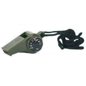 Pentagon píšťalka s kompasom a teplomerom, olivová