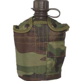Mil-Tec US poľná fľaša vzor woodland 1l s ALU miskoou