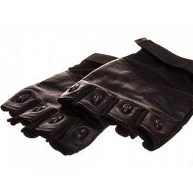 Rukavice ochranné kožené bez prstov Ouk, čierne