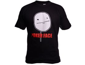 Funny vtipné tričko, poker face čierne