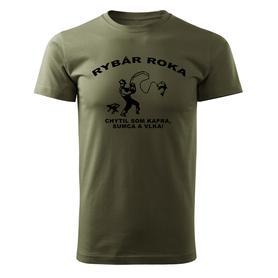 O&T krátke tričko rybár roka, olivová 160g/m2