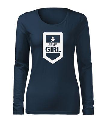 O&T Slim dámske tričko s dlhým rukávom army girl, tmavo modrá 160g/m2