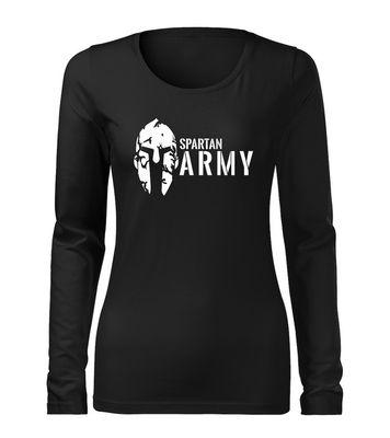 O&T Slim dámske tričko s dlhým rukávom spartan army, čierna 160g/m2