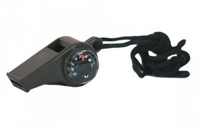 Pentagon píšťalka s kompasom a teplomerom, čierna