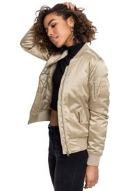 Urban Classics dámska saténová bomber bunda, zlatá